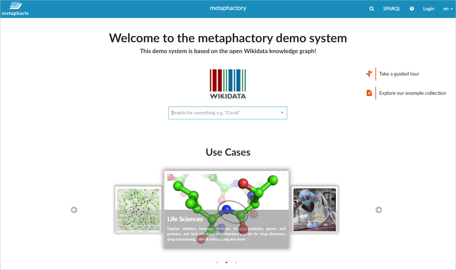 metaphactory Demo System on top of Wikidata
